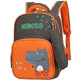 Kids Backpack Schoolbag Lightweight Children Elementary School Bag Large Capacity Preschool Kindergarten Book Travel Bag for 3-5 Grade Kids,Orange