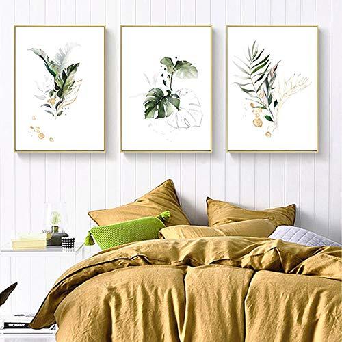 hdbklhjxk aquarel plant canvas poster blad Botanische kunstdruk schilderij Nordic stijl afbeelding moderne woonkamer decoratie 40x60cmx3 niet ingelijst