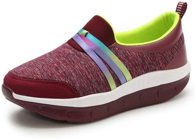 ASO-SLING Women Platform Wedge Sneakers Comfortable Fitness Walking Casual Slip On Swing shoes