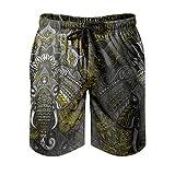 Jaccober Männer Elefant Beach Short Kordelzug mit Tasche Sommerbadeanzug white4 4XL