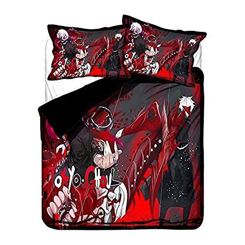 One Piece, Totoro, Naruto, One Punch Man, Anime Juego de ropa de cama 3D Big Collection Juego de funda de edredón suave (sin edredón) (Anime-25, individual 150 x 200 cm)