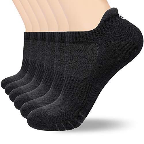 coskefy 6 Paar Sneaker Socken Herren Damen Gepolsterte Laufsocken 35-50 Schwarz Weiß Grau Baumwolle Sportsocken Atmungsaktiv (Schwarz-3(6 Paare), L(43-46))
