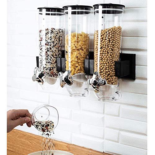 Triple-Trockenfutter Spender Wandmontage, Getreidespender, Lagerung Praxis, Einzylinder 1,5 l für die Getreidelagerung Nüsse Trail Mix Bohnen-Süßigkeit Reis