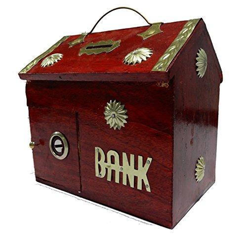 Regalo di ringraziamento per i vostri amati, Legno Money Bank, Home Style Con Colore Rosso salvadanaio, moneta bagagli cassaforte per ragazzi e ragazze