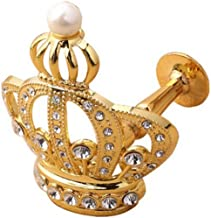 YING CHIC YYC 1Pair Creative Crown Crystal Drapery Curtain Wall Hooks Shop Coat Hanger (Gold)