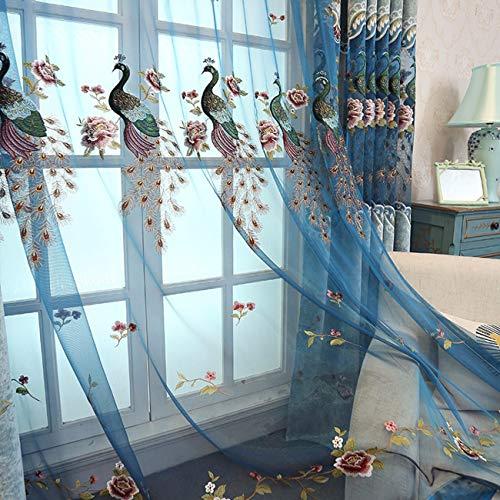 Peacock Brodés, Vidée De Style Européen Fenêtre De Luxe Rideau, Fini, Fenêtres, Rideaux, Rideaux, Etc.250 x 270 CM (W x H) x 2,D