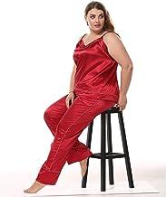 Kleding Grote maten satijnen damespyjama, 2-delige pyjama met V-hals hemdje, zomerpyjama vrijetijdspyjama