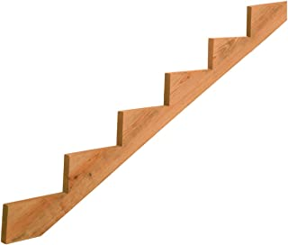6-Step Pressure-Treated Cedar-Tone Stair Stringer, Pre-cut, Pre-stained, Outdoor Use