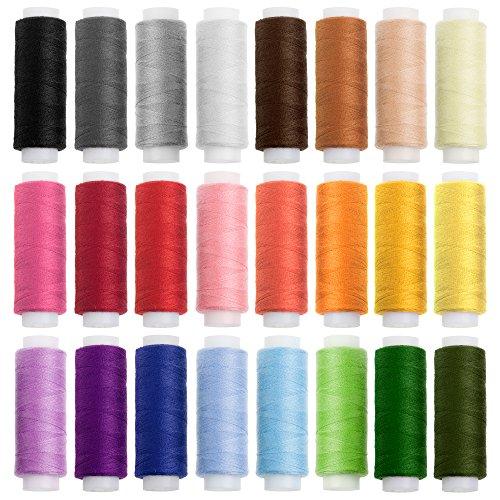 Faden & Nadel Nähgarn-Set: 24 Rollen Nähgarn für die Nähmaschine in verschiedenen Trend- und Standardfarben; aus 100% Polyester; Länge: je 100 m