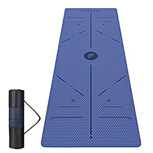 Letsfit Yoga Mat, 1/4 Inch Thick Eco Friendly Workout and Yoga Mat with Alignment Lines & Carrying Strap