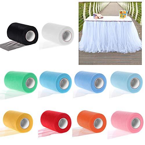 YLX Rotolo di Tulle, 10 Colori Rotoli Tulle Decorazioni Fai da Te Bobina Decorativo Confetti Bomboniere Matrimonio Festa (10PCS)