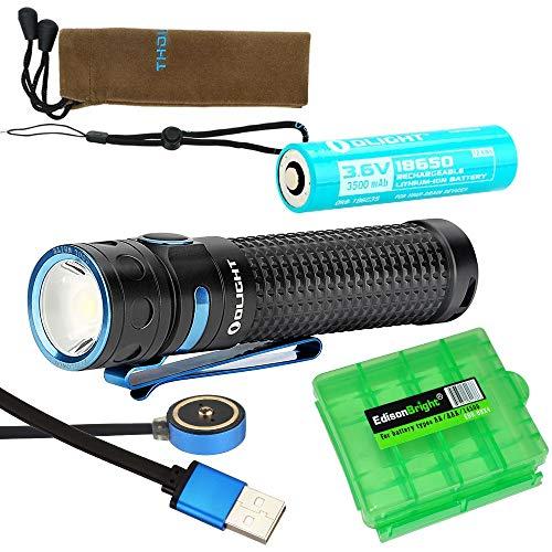 Olight Baton Pro 2000 lumen pocket EDC LED flashlight, rechargeable battery with EdisonBright charging cable carry case bundle