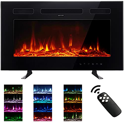 M.C.Haus Ultra-Thin Electric Fireplace Low Noise, 12 Variable & Breath Colors Flame, Recessed Wall Mounted Free Standing, Glass Touch Screen & Remote Control, With Crystal and Log Set (30 inch/76.2cm)