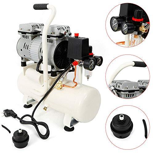 Silent Kompressor (Druckluftkompressor, ÖLFREI, Flüsterkompressor, Luftkompressor, Luftkompressor leise, 9L Tankinhalt, 8 bar, 680W, (0.9 PS), Ansaugleistung 50L/Min)