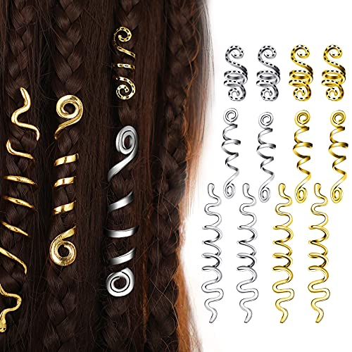12 Pieces Braid Hair Accessories Celtic Hair Jewelry Alloy Dreadlock Accessories Loc Jewelry for Hair Spiral Braid Jewelry Coil Jewel Hair Cuffs Snake Hair Clips for Women and Girls (Gold, Silver)
