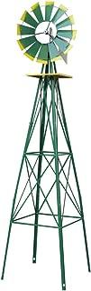 Nova Microdermabrasion 8' Ornametal Steel Windmill Yard Garden Wind Mill Weather Vane Weather Resistant (Green)