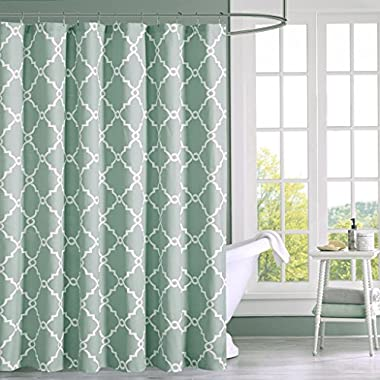 Madison Park Saratoga Simple Modern Cotton Fabric Shower Curtain, Contemporary Geometric Decorative Shower Curtains for Bathroom, 72 X 72, Seaform