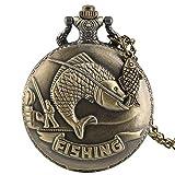 NOBRAND Reloj de Bolsillo, Único Escultura de Pesca de Bronce Reloj de Bolsillo Collar Cadena de Llavero Reloj Steampunk Cuarzo Reloj de Bolsillo Retro RegalosAccesorios de Pescado, 1