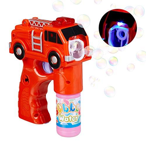 Relaxdays LED Seifenblasenpistole Feuerwehr, batteriebetrieben, mit Seifenblasen Flüssigkeit, für Kindergeburtstag, rot