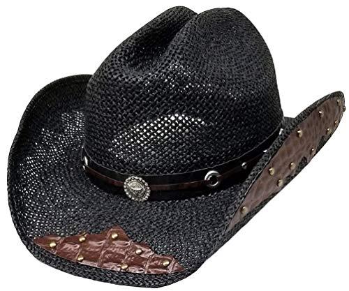 Modestone Straw Chapeaux Cowboy Breezer Metal Diamond Concho Studs Appliques Brim Black