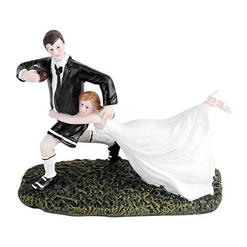 Yosoo Bonita y divertida decoración de tarta de boda para novia, pareja de rugby, amor, novia y novio, resina, decoración de mesa