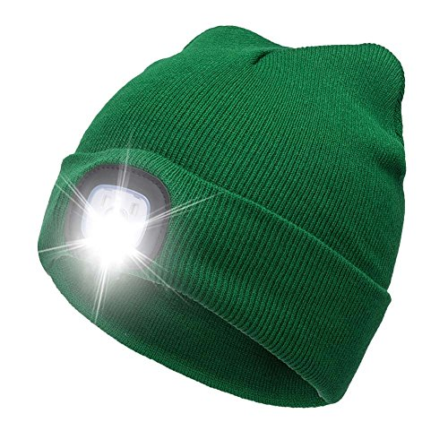 YJWB 4 LED Lighted Beanie Cap Winter Warm Hunting Hat for Night Outdoor Fishing Hiking Camping,LED Cap?USB Rechargeable LED Beanie Cap