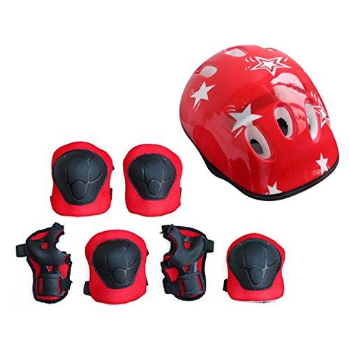 Nsdsb 7PCS / Set Juego de Equipo de protección para niños Scooter Skate Roller Ciclismo Rodilleras Coderas Rojas