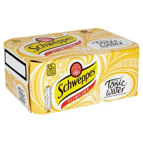 Schweppes SLIMLINE Indian Tonic Water 12 x 150ml - Kalorienarm und ohne Zuckerzusatz