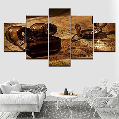 Cuadro sobre Lienzo 5 Pieza Antiguo telescopio y mapa 100x55cm Impresión de Lienzo de Pared Arte Pintura para Moderna Decoración para el hogar pintura fotos impresiones Obra de Arte para la Decoració