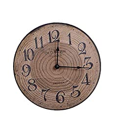 N /A Wall Clock Creative Living Room Bedroom Retro Tree Annual Ring Wall Clock 30cm Round Wood Material Home Decor