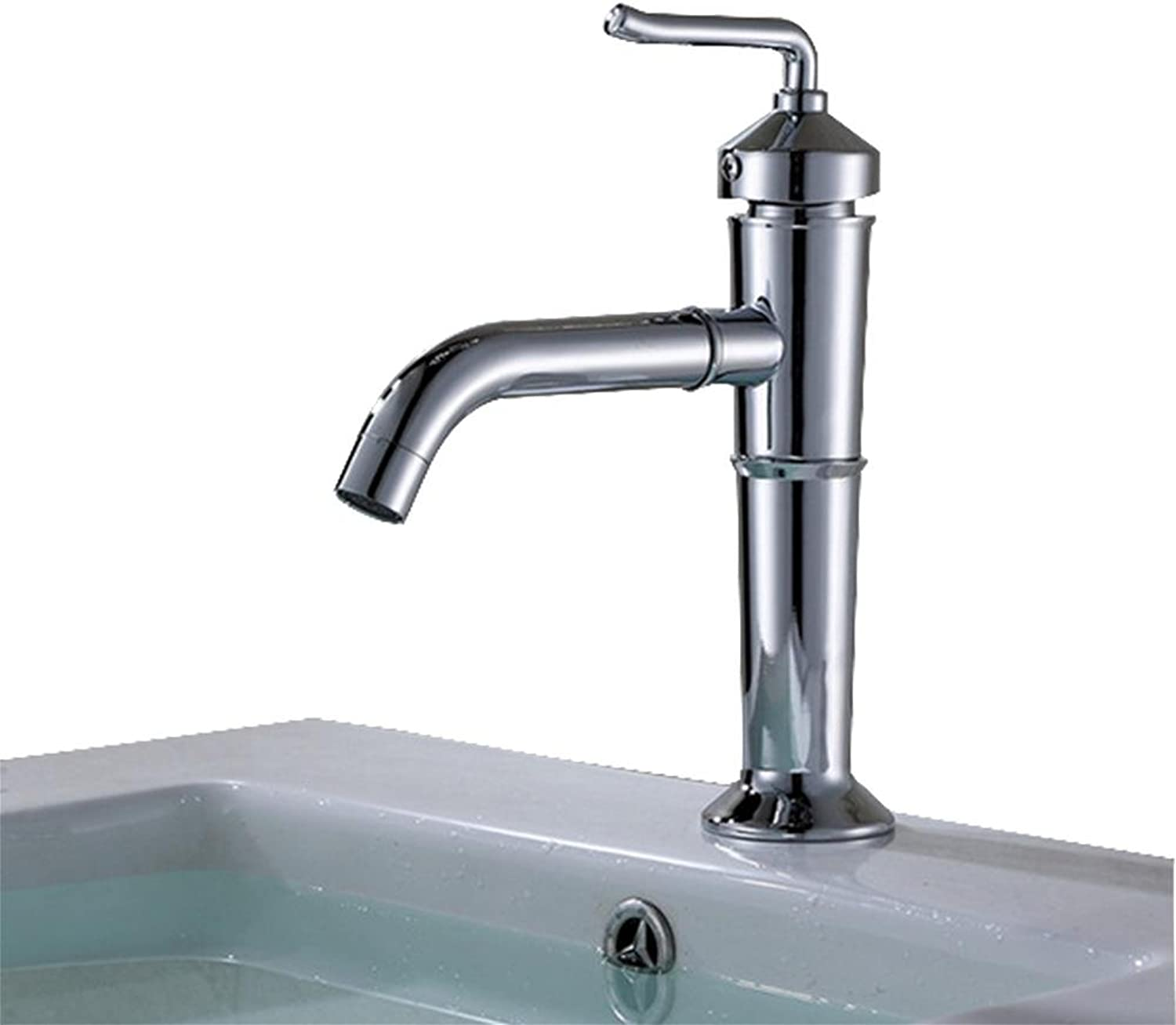 Retro Fashion Stainless Steel Single Hole Bathroom Basin Faucet Hot and Cold Mixed Water Faucet , silver