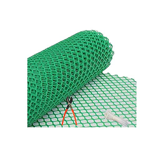 MESH MASTERS PVC Garden Fencing Net_Mesh (3.3feet Height /10feet Length) UV Stabilized 800 GSM Anti Bird Net Green Color 6 Months Guarantee with Free 1 Cutter,50 PVC Tags MN:02
