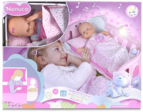 Famosa 700007431 - Nenuco slaap bij me, inclusief poppenbed met licht en muziek, 42 cm