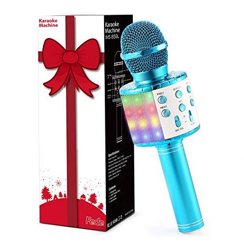 Fede Microfono Karaoke Bluetooth Wireless per Bambini, Karaoke Portatile con Luci LED Multicolore per Cantare, Funzione Eco, Compatibile con Android/iOS, PC o smartphone