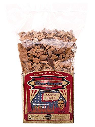 Axtschlag Räucherchips Kirsche, ideale 240 g Probier-Packung, sortenreine Wood Chips für besondere Rauch- und Geschmackserlebnisse, für alle Grills