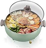 KaiKai Elektrischer Skillet mit Deckel, Non-Stick Multifunktionale Kleiner Elektro-Grill-Topf, mit Überhitzungsschutz, for das Kochen Reis, Hot Pot, Frying Eggs FEOPW