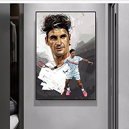 JHGJHK Jugador de Tenis Federer Arte Pintura al óleo Pintura y Grabado decoración de la Sala de Estar del hogar Pintura 3