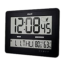 BALDR Large Digital Wall Clock with Big Time Display, Big Wall Clock for Office with Temperature and Humidity Time Zone Map Calendar Function, Black