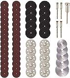 Mini discos de corte de diamante 60 piezas, accesorios para herramientas rotativas JUEMEL - herramienta rotativa de vástago de 1/8 ', HSS Piedra de plástico de vidrio de madera (Multicolor)