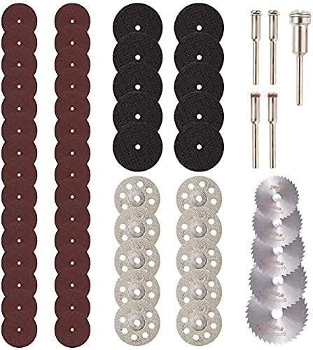 """Mini discos de corte de diamante 60 piezas, accesorios para herramientas rotativas JUEMEL - herramienta rotativa de vástago de 1/8 """", HSS Piedra de plástico de vidrio de madera (Multicolor)"""