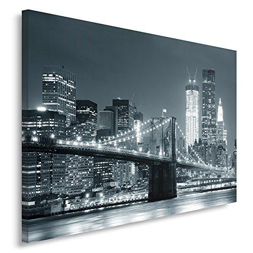 Feeby Frames, Cuadro en Lienzo, Cuadro impresión, Cuadro decoración, Canvas de una Pieza, 80x120 cm, Puente, Ciudad, Noche, Nueva York, Puente Brooklyn, Blanco Y Negro