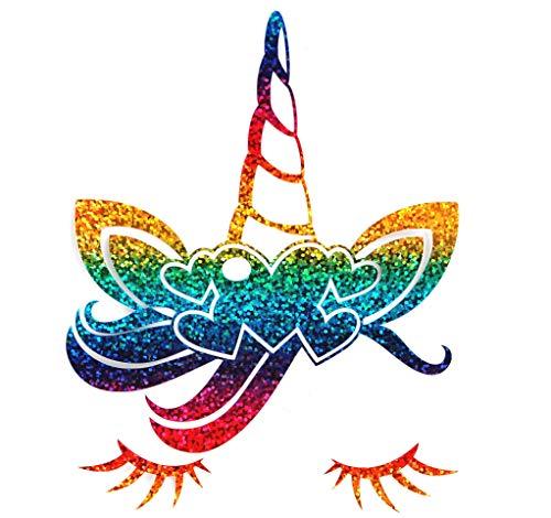 Bügelbild, Motiv: Einhorngesicht, Farbe: regenbogen, Größe: 13x16,5cm, heißsiegelfähige...