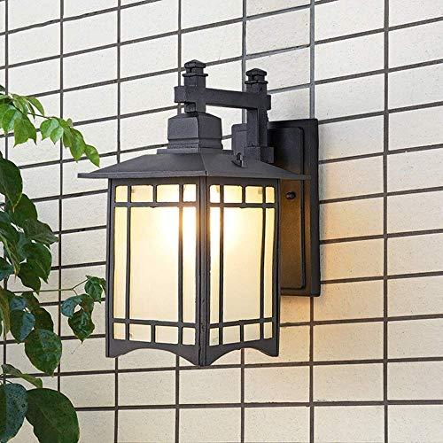 Aplique de Pared Aplique Luz de Soporte Lámparas de Pared de Hierro E27, Iluminación Impermeable de Patio Al Aire Libre, Luces de Vidrio de Fregado Retro Chino, Iluminación de Dormitorio de Balcón, A