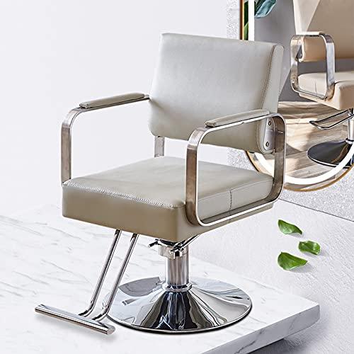 Silla de peinado hidráulica, Silla de corte de pelo para peluquería, giratoria de 360 °, equipo de peinado de spa de belleza con base redonda y reposapiés,Blanco