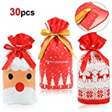 HOWAF 30pcs Bolsas de Regalo Navidad Bolsas Plástico con Cordón Bolsa Bolsas cumpleaños Infantil para Navidad Fiestas Cumpleaños Boda Caramelos Dulces Galletas Chocolates