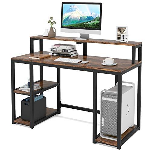 Tribesigns Computertisch mit Ablagefächern, Industrie-Schreibtisch, PC-Tisch, Arbeitsstation für Home Office