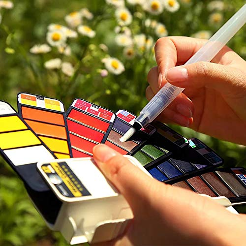 Watercolor Paint Set,Foldable Travel Portable Mini Watercolor Paint Set with Water Brush for Artist,Kids & Adults Field Sketch Outdoor Painting 42 Colors