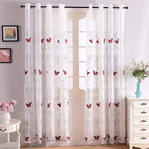 Topfinel Voile Ösenvorhänge mit Schmetterling-Stickerei Mustern Tülle Gardinen Decoschal für Wohnzimmer Schlafzimmer Fenster 2er Set je 225x140cm(HxB) Rot