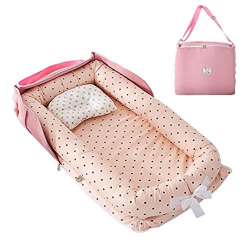 AJAMQ Cama Nido De Bebé Recién Nacido, Cuna De Viaje Portátil, Cuna para Bebé Recién Nacido para Cama/Tumbona/Nido/Dormir De 0 A 24 Meses,Rosado