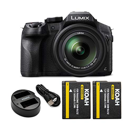 Panasonic DMC-FZ300K Digital Camera (Black) with Koah Power Battery and Charger Bundle